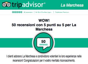 TripAdvisor premia La Marchesa con il massimo punteggio
